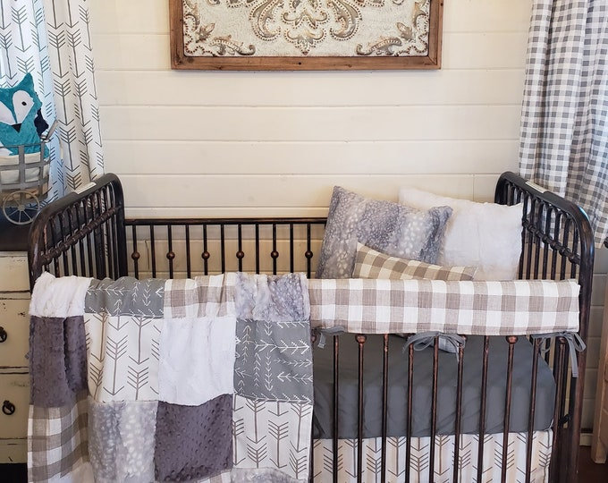 Featured listing image: 2 Day Ship - Neutral Crib Bedding - Farmhouse Nursery Collection - White Tan Arrows, Ecru Slub Check, Silver Fawn Minky, Farm Nursery Set