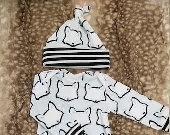 2 Day Ship - Going Home Baby Gown - Fox infant gown And fox with black stripe knot hat