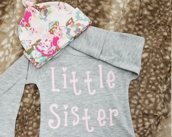 2 Day Ship - Going Home Baby Gown - Little Sister infant gown And light pink floral knot hat