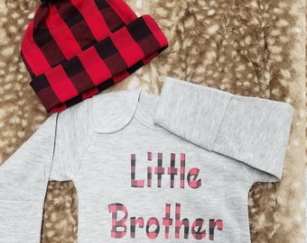2 Day Ship - Going Home Baby Gown - Little Brother infant gown And red black check knot hat