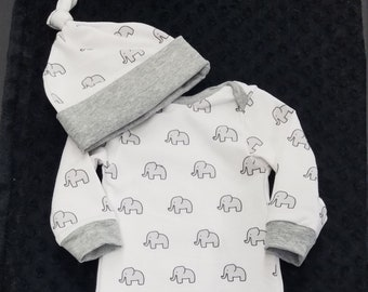 2 Day Ship - Baby Going Home Baby Gown - Little Elephant infant gown And knot hat