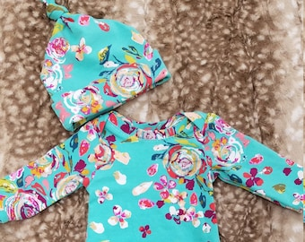 2 Day Ship - Going Home Gown - Teal Floral infant gown