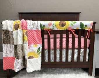 2 Week Ship - Baby Girl Crib Bedding - Sunflower Nursery Collection