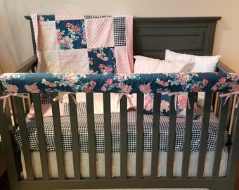2 Day Ship - Baby Girl Crib Bedding - Navy Coral Floral, Navy Gingham, Bella Damask, Navy Coral Floral Baby Bedding