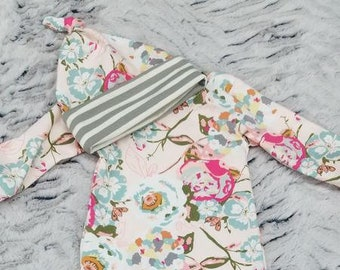 2 Day Ship - Going Home Gown - Blush Floral infant gown