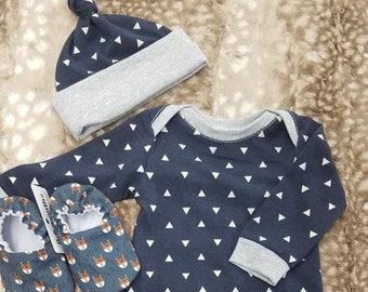 2 Day Ship - Going Home Baby Gown - Navy Triangle and gray trim infant gown and knot hat