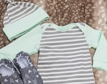 2 Day Ship - Going Home Baby Gown - Gray stripe and mint fire fly trim infant gown and knot hat