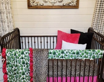 2 Day Ship - Girl Crib Bedding - Cheetah and Cactus Nursery Collection