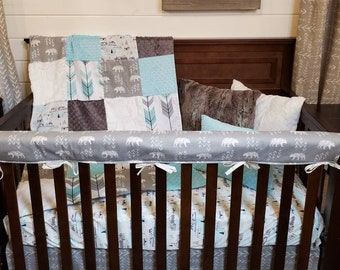 2 Day Ship Boy Crib Bedding - Bear, Mountain, and Arrow, Woodland Nursery