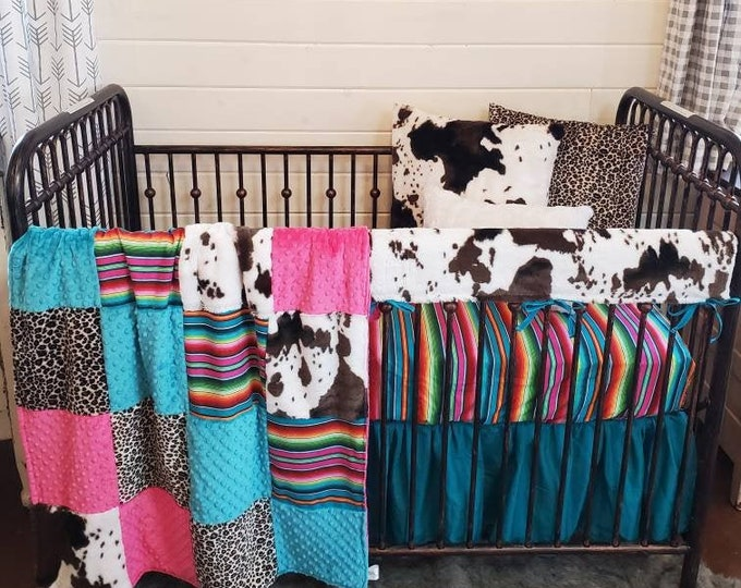 Featured listing image: 2 Day Ship - Girl Crib Bedding - Cheetah, Serape, and Cow Minky Nursery Collection
