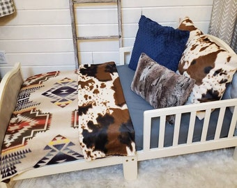Toddler Bedding - Tan Aztec and Cow Minky