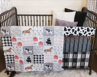 2 Week Ship - Neutral Crib Bedding - Farm, Cow, Pig, Tractor, Farm Nursery Set