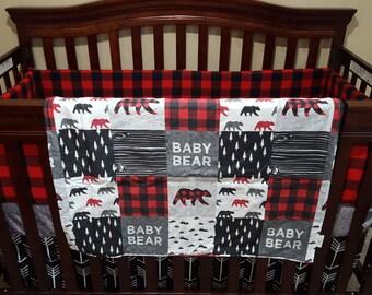 2 Week Ship - Boy Crib Bedding - Baby Bear, Black Arrows, Red Black Buffalo Check, Black, and Gray, Baby Bear Nursery Set