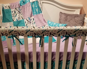 Girl Crib Bedding - Feathers, Teal Arrows, Lilac, and Teal, Boho Nursery Set