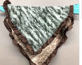 Soft Minky Blanket with Ruffle Edge - Fawn Minky and Camo Jupiter Minky with Brown Satin Ruffle