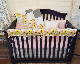 2 Week Ship - Baby Girl Crib Bedding - Sunflower and Rose Nursery Collection