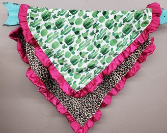 Soft Minky Blanket with Satin Ruffle Edge - Cheetah Minky and Cactus with Fuschia Satin Ruffle