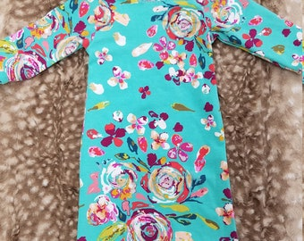 Going Home Gown - Teal Floral infant gown