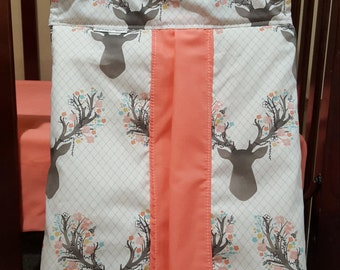 Fawn Diaper Stacker - Woodland, Girl, Deer, Changing, Diapers