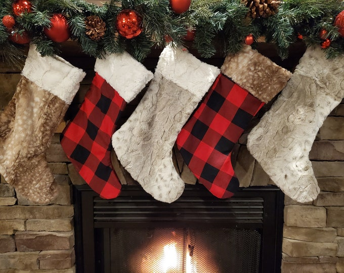 Featured listing image: Christmas Stocking - Buffalo Check, Fawn Minky, Or Lynx Minky Stocking
