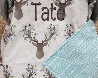 Baby Carseat Canopy - Stag Carseat Canopy, Tent, Cover, Deer, Buck