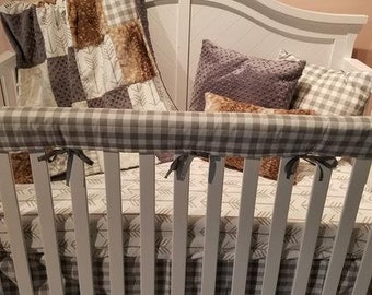 2 Day Ship - Neutral Crib Bedding - White Tan Arrows, Ecru Check, Fawn Minky, Gray, and Ivory, Farm Nursery Set