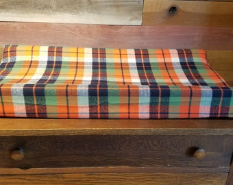 2 Day Ship - Adventure Plaid Contour Changing Pad Cover - Woodland, Orange, Navy, Green, Plaid