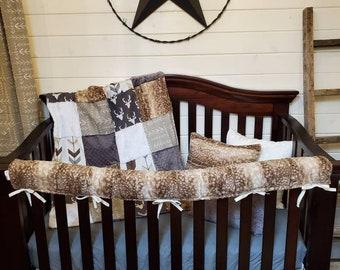 2 Day Ship Boy Crib Bedding - Buck, Fawn Minky, and Arrow, Woodland Nursery