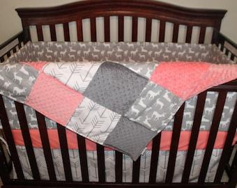 Girl Crib Bedding - White Gray Arrows, Gray Deer, Coral, and Gray, Deer Nursery Set
