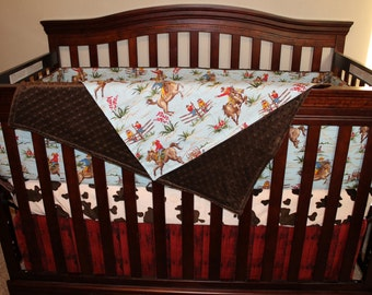 Cowboy Baby Boy Crib Bedding - Barn Dandy Cowboy, Pony, and Barn Wood Nursery Set