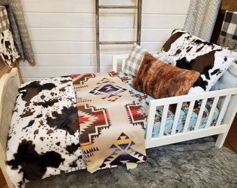 Toddler Bedding - Cow Minky and Barn Dandy