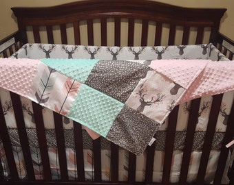 Girl Crib Bedding - Tulip Fawn, Fletching Arrow, Pebble Random Arrow, and Blush, Fawn Nursery Set