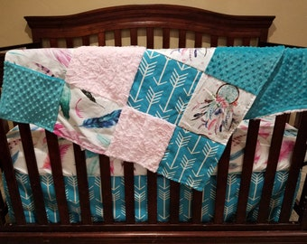Baby Girl Crib Bedding - Dream Catcher, Feathers, Arrows, Teal Minky, and Light Pink Crushed Minky Crib Bedding Ensemble