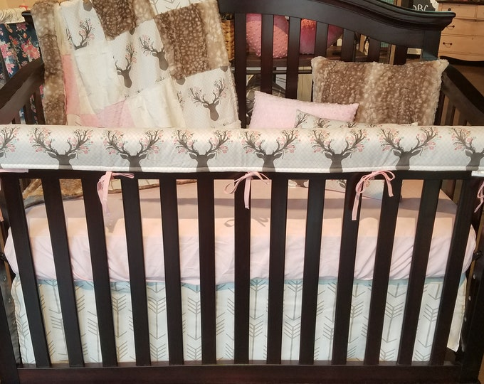 Featured listing image: 2 Day Ship - Baby Girl Crib Bedding - Tulip Fawn, White Tan Arrows, Fawn Minky, Blush, and Ivory Nursery Set