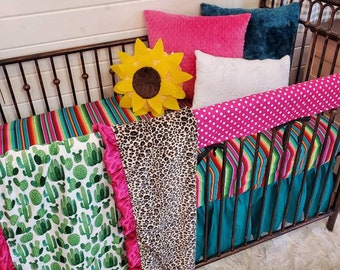 2 Day Ship - Girl Crib Bedding - Cheetah, Serape, and Cactus Nursery Collection