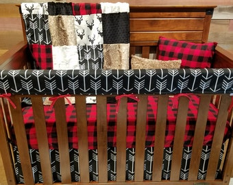 2 Day Ship - Boy Crib Bedding - Black Buck, Black Arrows, Red Black Check, Fawn Minky, and Black, Woodland Nursery Set