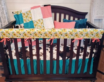 2 Week Ship - Baby Girl Crib Bedding - Sunflower and Cow Minky Nursery Collection