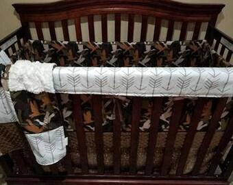 Boy Crib Bedding - Duck Camo, White Tan Arrow, Deer Skin Minky, Ivory Crushed Minky, and Brown Mink, Duck Nursery Set