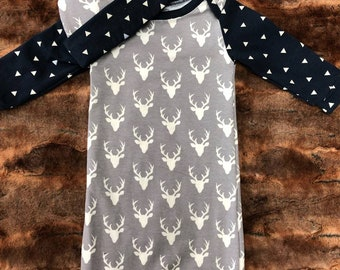 2 Day Ship - Going Home Baby Gown - Gray Buck and Navy triangle infant gown