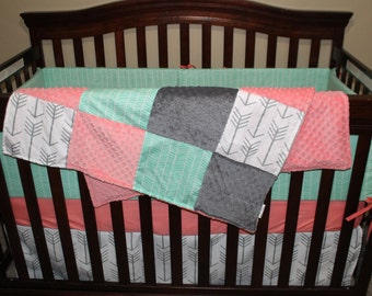2 Day Ship - Girl Crib Bedding - White Gray Arrows, Mint Herringbone, Coral, and Gray, Arrow Nursery Set