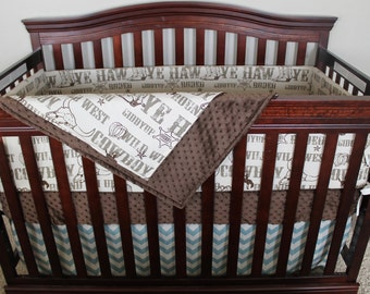 2 Day Ship - Cowboy Crib Bedding - Brown Cowboy, Brown Minky, and Village Blue Chevron Crib Bedding Ensemble