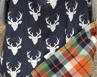 Carseat Tent - Navy Buck Carseat Canopy, Tent, Deer, Antler, Woodland, Plaid