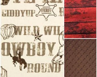 Crib Bedding Starter Set -  Cowboy and Barnwod