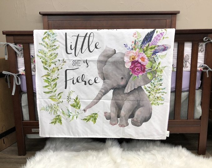 Featured listing image: Baby Girl Crib Bedding - Elephant, Lilac, Gray, Elephant Baby Bedding