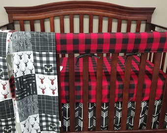 2 Day Ship - Buffalo Check Baby Crib Rail Guard- Red Black Buffalo Check, Lodge, Woodland