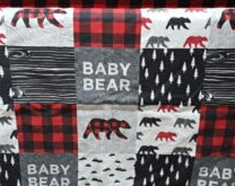 2 Week Ship - Baby Bear Contour Changing Pad Cover - Red Black Check, Bears, Baby Bear