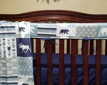 Boy Crib Bedding - Navy Gray Fletching Arrow, Moose Bear, and Navy Minky, Woodland Nursery Set