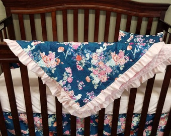 Baby Blanket- Navy Coral Floral and Minky Blanket