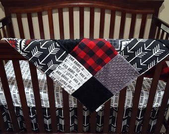 Baby Boy Crib Bedding - Little Brave Arrows, Black Arrow, Red Black Check, Gray Minky, and Black Minky Crib Baby Bedding Ensemble