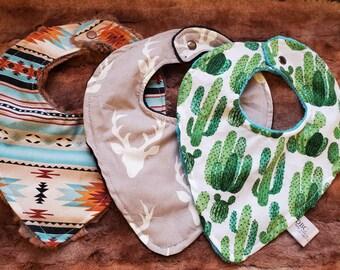 Baby Bibs - Buck, Cactus, Aztec Deluxe Minky backed bibs